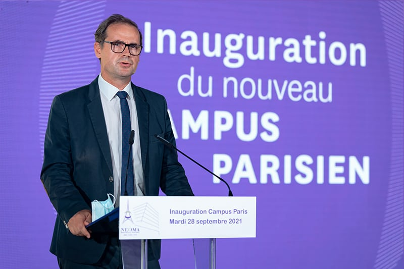 Vincent Laudat, President of the Rouen Métropole chamber of commerce inaugurates NEOMA new campus in Paris